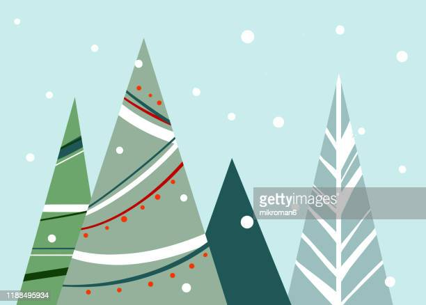 christmas illustration of christmas tree - christmas card - christmas stock pictures, royalty-free photos & images