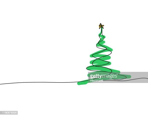 christmas illustration of christmas tree - christmas card - lineart stock-fotos und bilder