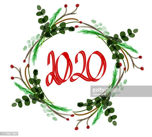 christmas illustration of ivy with 2020- christmas card - gui photos et images de collection