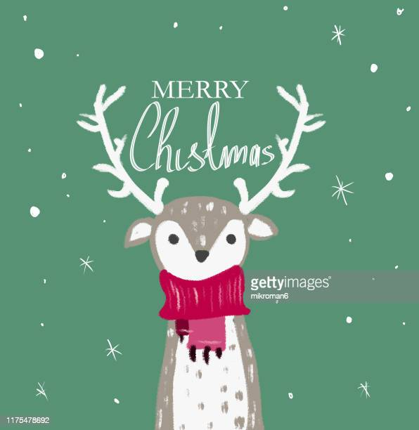 christmas illustration of reindeer - christmas card - snowman stock pictures, royalty-free photos & images