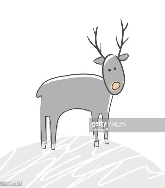 christmas illustration of reindeer - christmas card - cartoon santa claus fotografías e imágenes de stock