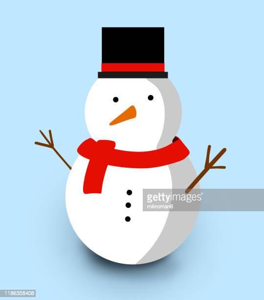 christmas illustration of snowan- christmas card - christmas vector stock photos and pictures