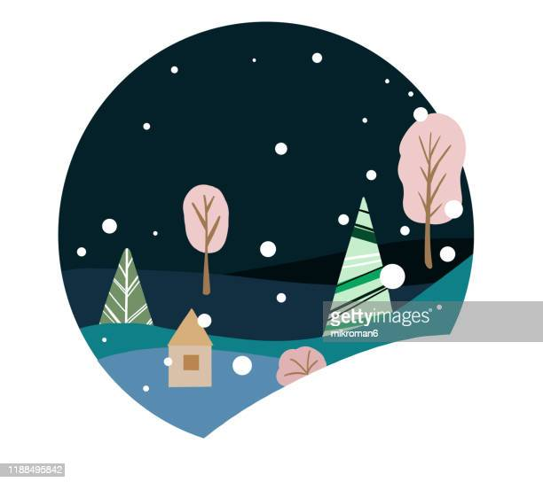 christmas illustration of winter scene - christmas card - cartoon santa claus stock photos and pictures