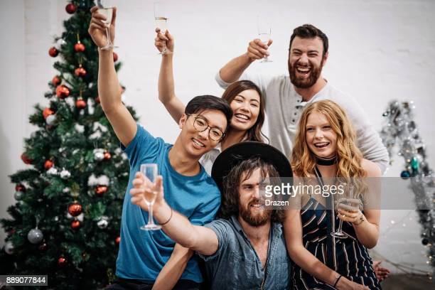 Christmas in Australia - cheerful people celebrating it together