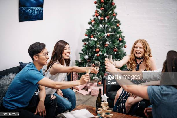 Christmas in Australia - people on the party at home