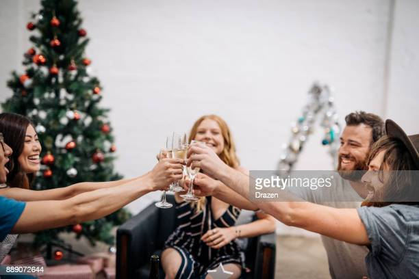 Christmas in Australia - young people are toasting before going to the wedding