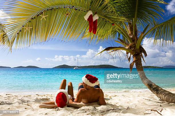 christmas in caribbean paradise - caribbean christmas stock pictures, royalty-free photos & images
