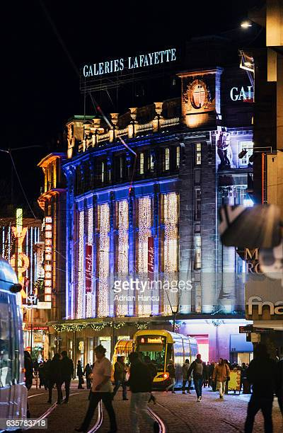 Christmas in France Christmas decorated and illuminated facade of the iconic Galeries Lafayette