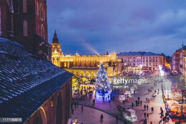 christmas in krakow - krakow stock pictures, royalty-free photos & images
