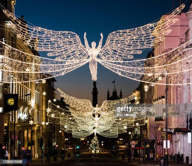 christmas in london, pre-dawn - stock photo - travel destinations stock pictures, royalty-free photos & images