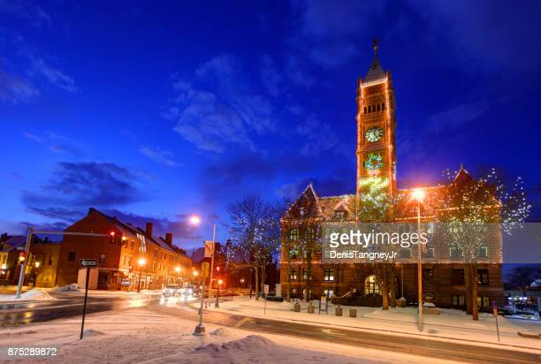 christmas in lowell, massachusetts - lowell massachusetts stock pictures, royalty-free photos & images
