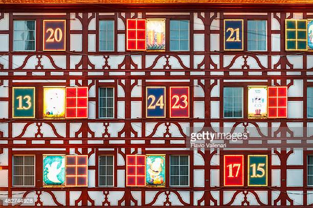 christmas in lucerne, switzerland - advent calendar stock photos and pictures