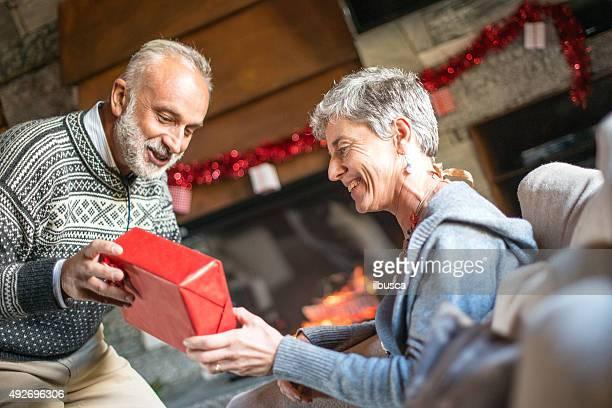 Christmas in mountain house: Senior Couple