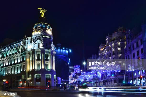 Christmas in Spain. Gran Via and Acala avenues.
