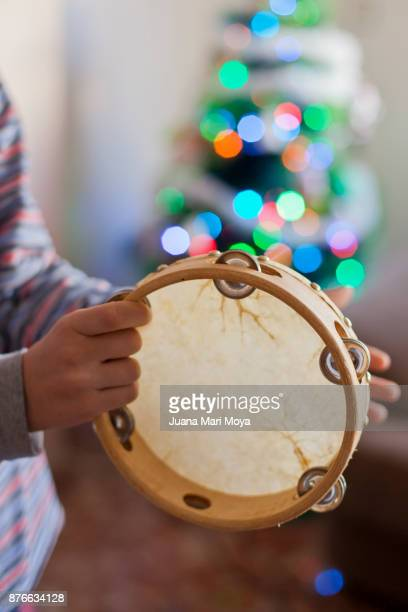 christmas in spain. tambourine - tambourine stock photos and pictures
