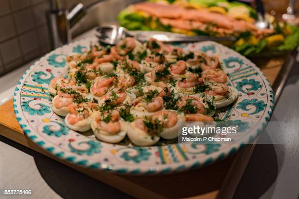 Christmas in Sweden - Egg halves with shrimp and dill mayonnaise