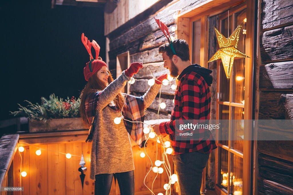Maison de Noël dans les montagnes. : Photo