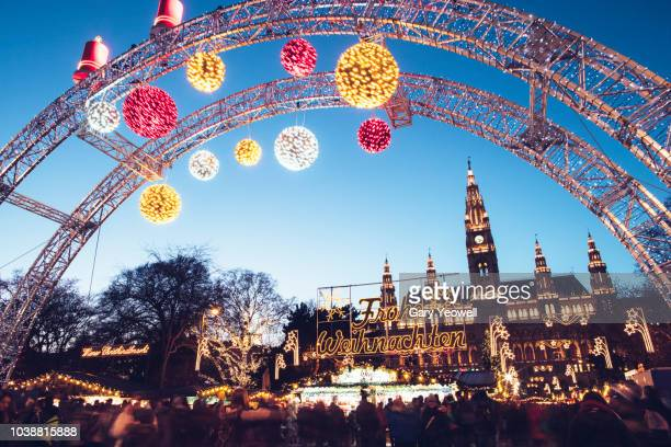 christmas in vienna - christmas market stock pictures, royalty-free photos & images