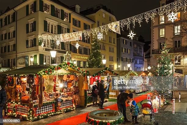christmas in zurich, switzerland - zurich stock pictures, royalty-free photos & images