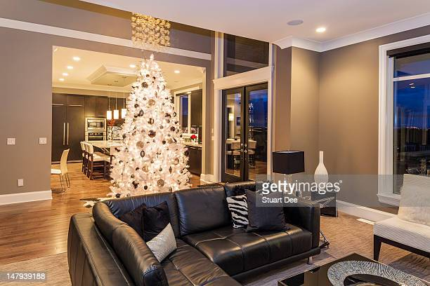 Christmas interior, living room and kitchen