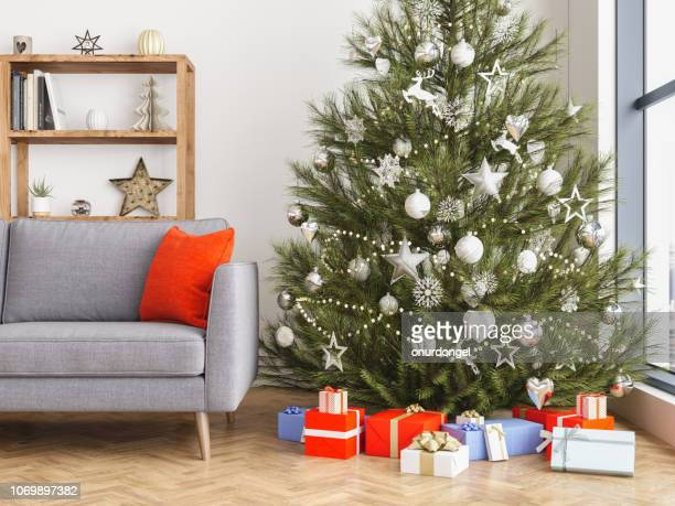 christmas interior - christmas tree stock pictures, royalty-free photos & images