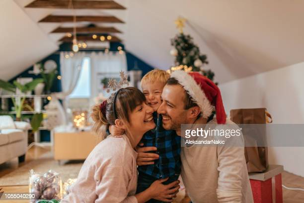 christmas joy with my family - christmas family stock pictures, royalty-free photos & images