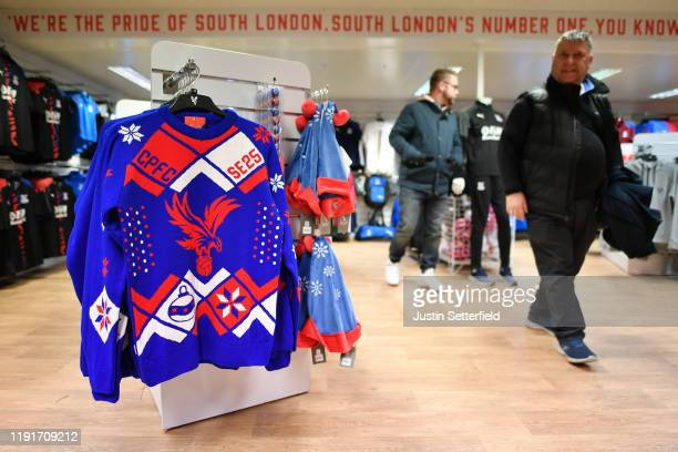 Christmas jumper is pictured inside the club shop ahead of the Premier League match between Crystal Palace and AFC Bournemouth at Selhurst Park on...
