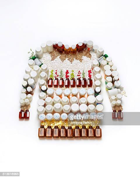 Christmas jumper made out of pills and supplements