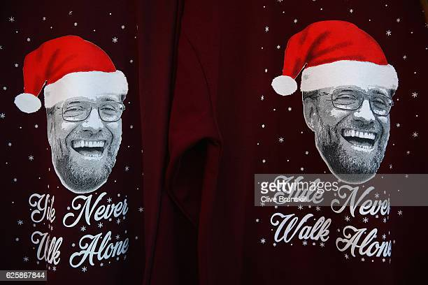 Christmas jumpers are on sale outside the stadium prior to the Premier League match between Liverpool and Sunderland at Anfield on November 26 2016...