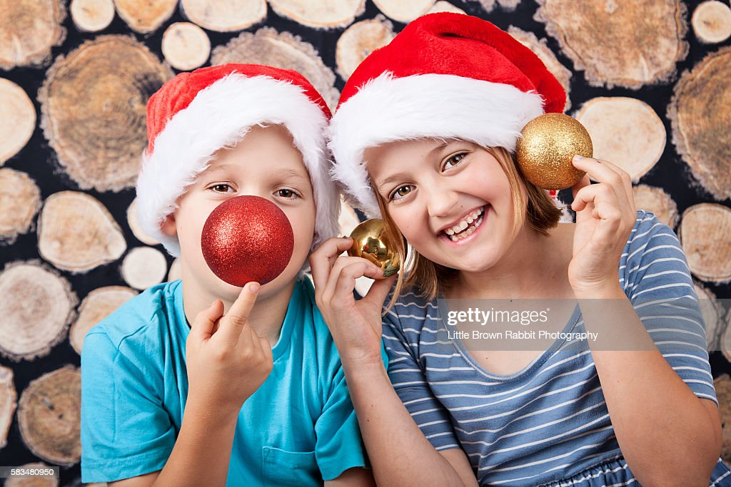 Christmas Kids Fooling About : Stock Photo