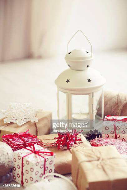 Christmas lantern and gift boxes