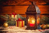 christmas lantern snow