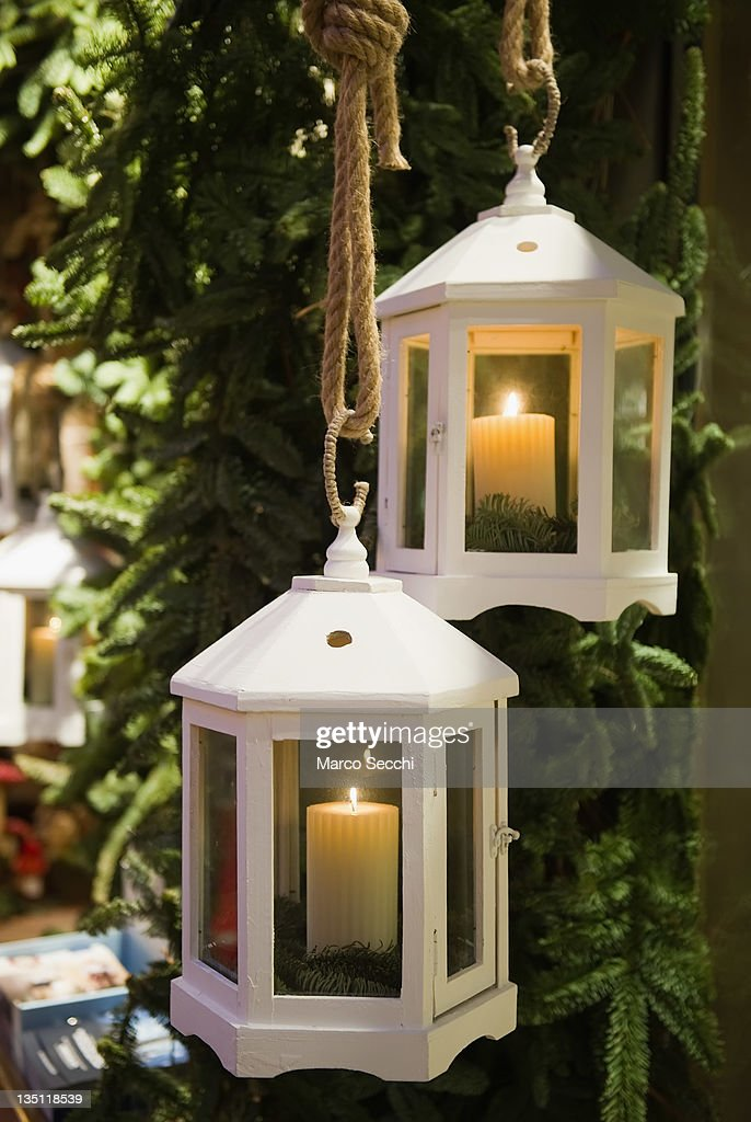 Christmas Lanterns Are Seen As Part Of A Morandin Shop