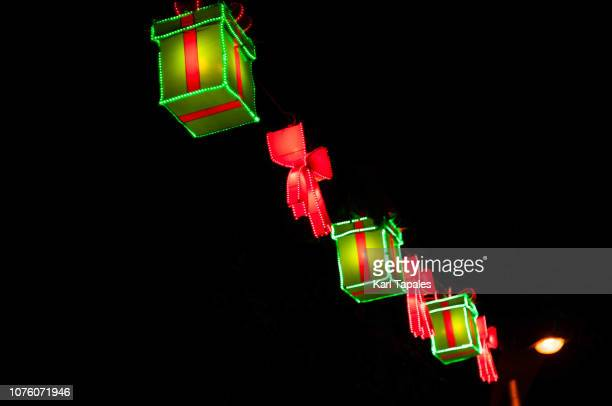 a christmas light decoration at night - capital region stock pictures, royalty-free photos & images