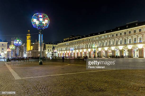 christmas light installation in turin, piazza san carlo - italy - piazza san carlo stock photos and pictures