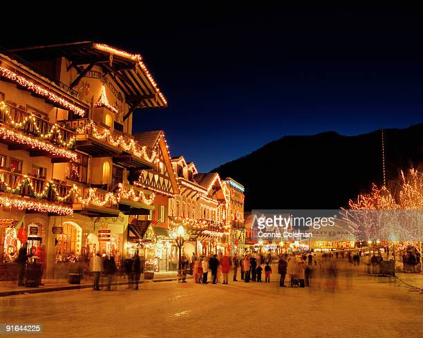 christmas lighting ceremony in leavenworth, wa - leavenworth washington stock photos and pictures