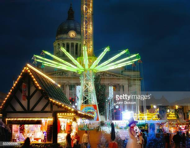 christmas lighting - nottingham stock photos and pictures