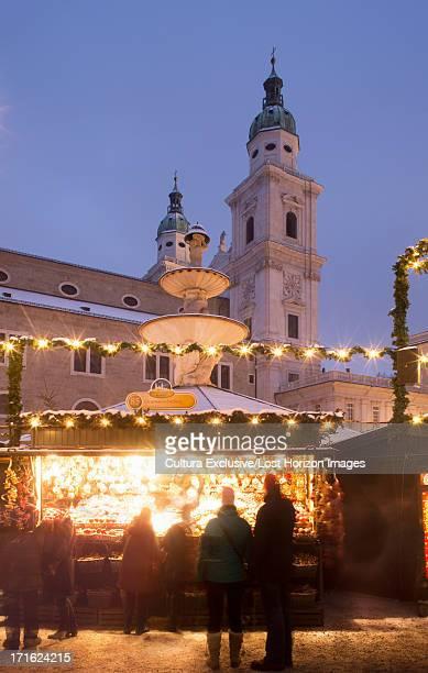 Christmas lights and buildings in christmas market, Salzburg, Austria