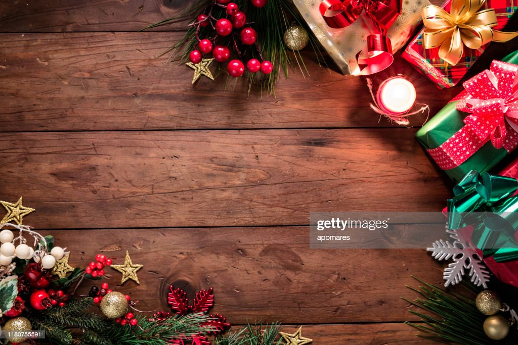 Christmas lights and decoration with presents making a frame with copy space. Christmas themes. : Stock Photo
