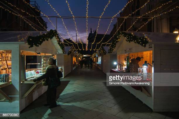 Christmas lights and markets in Campo Santo Stefano are seen during Christmas period on December 4 2017 in Venice Italy