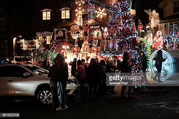 Christmas lights and other ornaments decorate a home on December 15, 2015 in the Dyker Heights neighborhood of the Brooklyn borough of New York City....