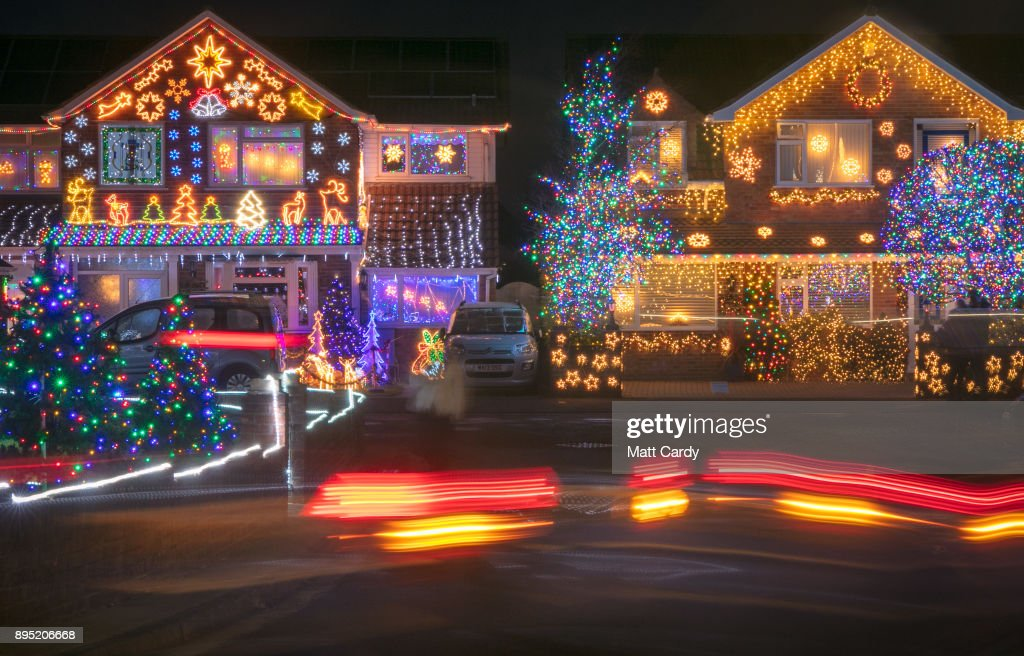 Christmas Lights On Houses.Christmas Lights Are Displayed On Houses In Trinity Close In