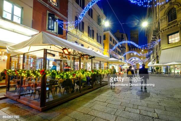 Christmas lights are seen in center of Bologna on December 17 2017 in Bologna Italy