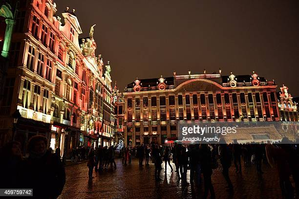 Christmas lights at Grande Place square are illuminated in Brussels Belgium on November 30 2014