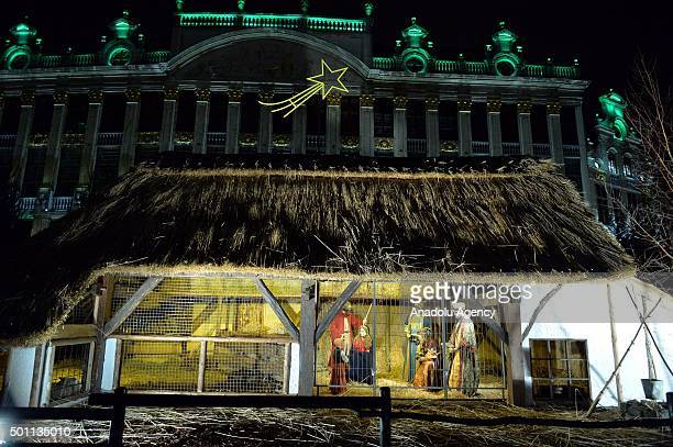 Christmas lights at Grande Place square are illuminated in Brussels Belgium on December 12 2015