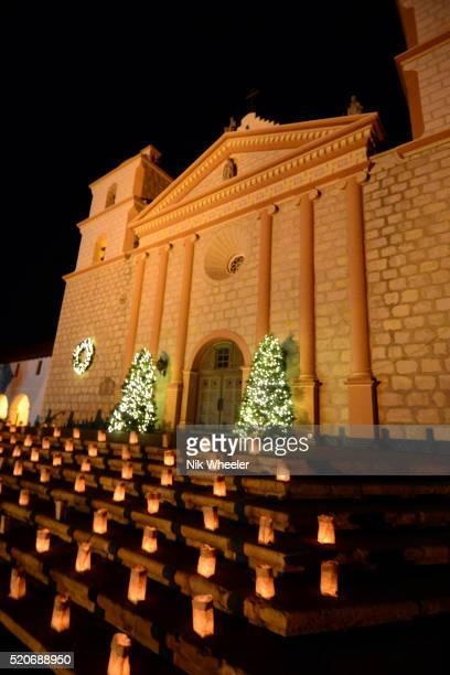 christmas lights at old mission santa barbara, california, usa - mission santa barbara stock pictures, royalty-free photos & images