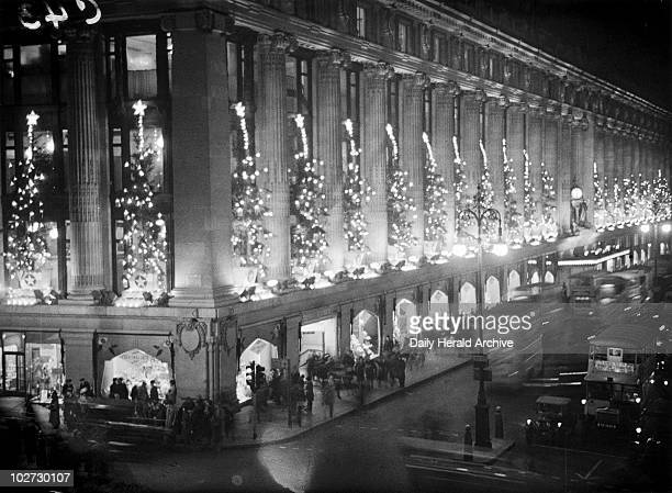 Christmas lights at Selfridges 15 December 1932 Photograph showing the Christmas lights at Selfridges