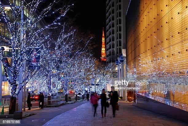 Christmas lights at streets of Tokyo