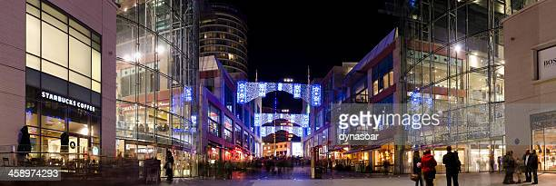 christmas lights at the bullring shopping centre, birmingham, panorama - bullring shopping centre stock pictures, royalty-free photos & images