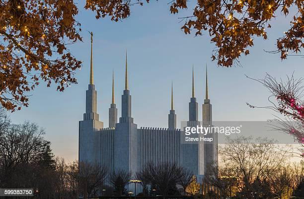 Christmas lights at Washington DC Temple or Church of Jesus Christ of Latter-day Saints in Kensington, Maryland, USA